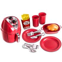 Kit Cozinha Infantil Fritadeira Air Fryer Vermelha 12 Peças - Zuca Toys