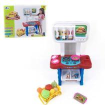 Kit Cozinha Infantil Mini Mercado Feirinha Com Fogao Luz Som E Acessorios Completa Menino Menina - Makeda
