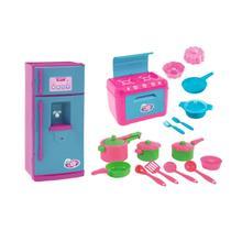 Kit Cozinha Infantil Panelinhas + Fogão + Geladeira Le Chef - Nig Brinquedos