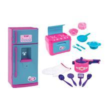 Kit Cozinha Infantil Pressãozinha + Fogão + Geladeira LeChef - Nig Brinquedos