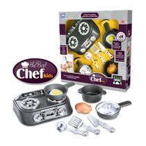 Kit Cozinha Infantil The Best Chef Kids Com Fogao 9 Pecas - Grafite - Zuca toys