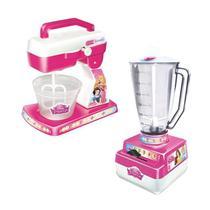 Kit Cozinha Liquidificador + Batedeira Infantil Princesas - Líder Brinquedos