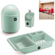 Kit Cozinha Lixeira 4L + Escorredor Louças Pratos + Dispenser Porta Detergente - Uz -