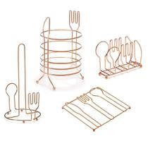 Kit Cozinha Metal Rose P Talher P Toalha 4 Pcs - Arthi
