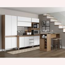 Kit Cozinha Modulada Sabrina 06 Peças + Ilha Bancada Avelã/Branco TX - Soluzione - A05S -