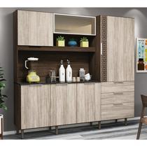 Kit Cozinha New Space 6 Portas Amêndoa Rust e Arezzo Rust Nicioli -