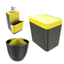 Kit Cozinha Pia Porta Dispenser Detergente + Lixeira 5L + Escorredor Talheres - Chumbo  Crippa - Mor