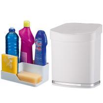 Kit Cozinha Porta Detergente Esponja Sabão + Lixeira 2,5 Litros Pia - Future -