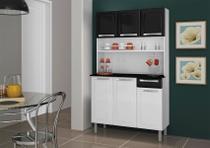 Kit Cozinha Rose 6 Portas 1 Gaveta De Aço Branco Neve e Preto Itatiaia -