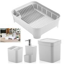 Kit Cozinha Trium Escorredor Louça + Porta Talheres + Dispenser Detergente + Lixeira - Ou -