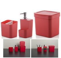 Kit Cozinha Trium Escorredor Talheres + Dispenser Detergente + Lixeira - KTE 012 Ou -