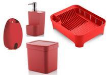Kit cozinha Vermelho 4 peças OU lixeira, porta detergente, escorredor louça, puxa saco porta sacola -
