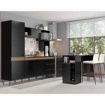 Kit Cozinha Vitória Armário 215 Cm + Ilha Bancada 140 Cm MDP Preta TX 03180535 - MENU - Menu Móveis