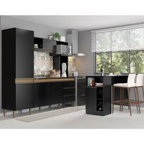 Kit Cozinha Vitória Armário 215 Cm + Ilha Bancada 140 Cm MDP Preta TX 03180535 - MENU - MenuMóveis