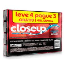 Kit Creme Dental Close Up Fresh Action Red Hot 90g 4 Unidades - Close-up
