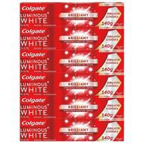 Kit Creme Dental Colgate Luminous White Brilliant Mint 140g com 6 unidades -