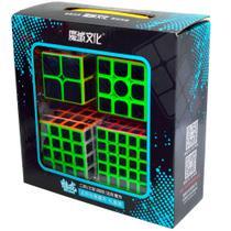 Kit Cubo Mágico Profissional Moyu 2x2x2 3x3x3 4x4x4 5x5x5 Black Carbon -