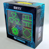 Kit Cubo Mágico Profissional Moyu MeiLong Pyraminx + Skewb + Megaminx + Square -1 One Black Carbon -