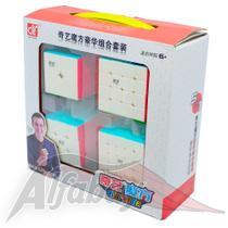 Kit Cubo Mágico Profissional Qiyi 2x2x2 + 3x3x3 + 4x4x4 + 5x5 Stickerless -