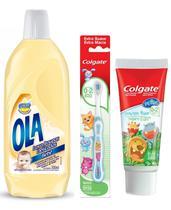 Kit Cuidado do Bebê: Lava Roupas + Creme Dental + Escova Dental - Ola