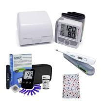 Kit Cuidador de Idosos Aparelho de Pressão Digital Glicose - G-Tech