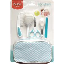 Kit Cuidados Com o Babe 9 pçs com estojo  Azul Buba 7285 - Buba Baby