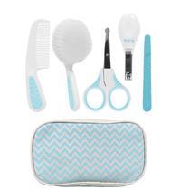 Kit Cuidados E Higiene Bebê Com Pente Escova Cortador De Unha Estojo Azul Buba -