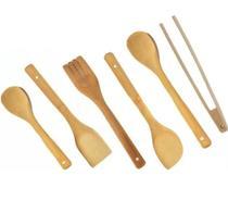 Kit Culinário 6 Utensílios Colher De Bambu Cozinha Top House -