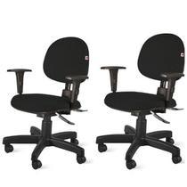 Kit de 2 Cadeiras de Escritório Executiva Ergonômica com braços N17 ABNT  Tecido Preto  Qualiflex -