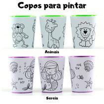 Kit de 2 Copos para colorir com giz de Cera (2 und tema: Animais + Sereia) - Brinque Aí
