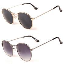 Kit de 2 Óculos de Sol Feminino Titânia Redondo Dourado e Grafite - Titania