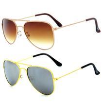 Kit de 2 Óculos de Sol Infantil Zjim Aviador Rosê e Dourado - Prorider