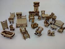 Kit de  25 Mini Móveis para Casinha de Boneca Polly - Doce Arte Em Madeira
