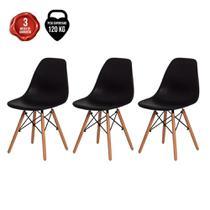 Kit de 3 Cadeiras Eiffel Eames DSW Vermelha Base Madeira - Baba Shop