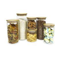 Kit de 6 Potes de Vidro Herméticos Tampa de Bambu - OIKOS -
