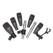 Kit de 7 Microfones para Bateria Samson DK707 em case -