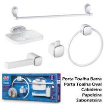 Kit De Banheiro Lavabo Tivoli Herc Abs 05 Peças Branco/Cromado -