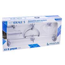 Kit de Banheiro Linha Ideale 5 peças Cromado Cristal - Aquaplás