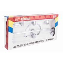 Kit de Banheiro Linha Rimini 5 peças Cromado Cristal - Aquaplás