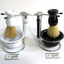 Kit de Barbear com Pincel, Pires, Barbeador e Suporte - Branco - impk