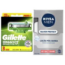 kit de barbear contendo: uma carga Mach 3 sensitive leve 8 pague 6, loção pós-barba Nivea men. - Nivea/Gillette