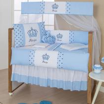 Kit  De  Berço Imperial Azul Claro10pçs Almofada Brinde - Gaby Baby Enxovais
