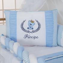 Kit de Berço Menino Trançado Ursinho Azul Claro com Almofada 10 Peças - Empório Casa Enxovais