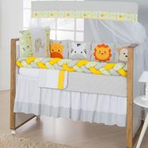 Kit de Berço Trança Floresta Safari 11 peças Amarelo - Doce lar enxovais