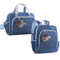 Kit de bolsa e mochila maternidade Havana Azul - Just Baby -
