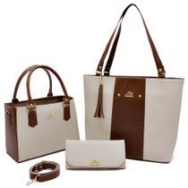 Kit de bolsa feminina bolsa sacola mais bolsa transversal e carteira - livia sabatini