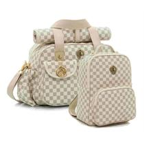 Kit de bolsas Maternidade e mochila Escocesa caramelo - Lequiqui -