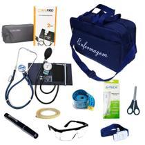 Kit de Bolso da Enfermagem Com Aparelho De Pressão Estetoscópio Duplo Lanterna Clínica Bolsa Azul - Pamed