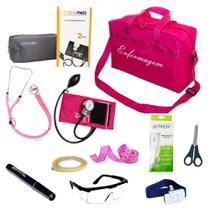 Kit de Bolso da Enfermagem Com Aparelho De Pressão Estetoscópio Duplo Lanterna Clínica Bolsa Pink - Pamed