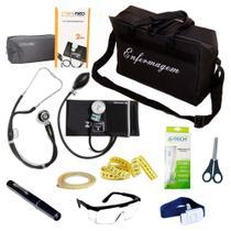 Kit de Bolso da Enfermagem Com Aparelho De Pressão Estetoscópio Duplo Lanterna Clínica Bolsa Preta - Pamed